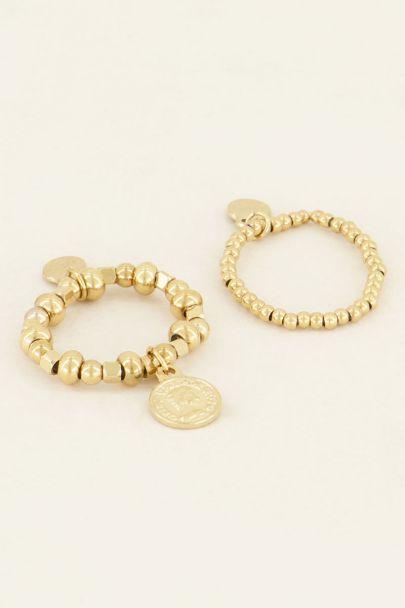 Stretch ringen set met muntje | Bestel nu | My Jewellery
