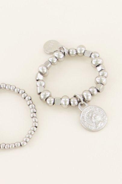 Stretch ringen set met muntje