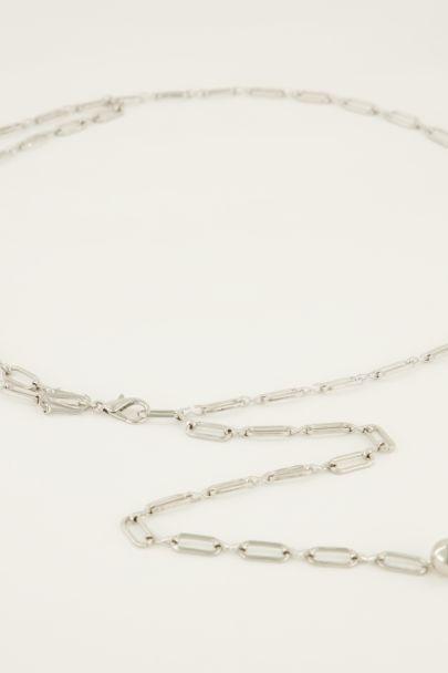 Zilverkleurige ketting riem ovale schakels