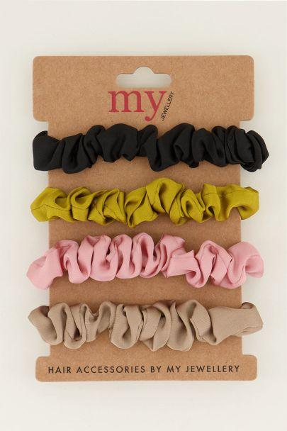 Mini scrunchies gekleurd