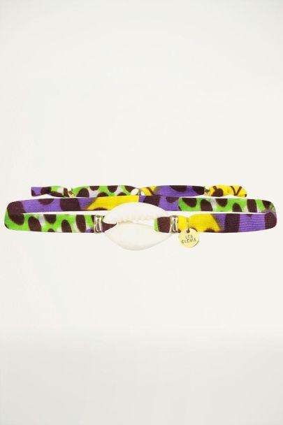 Armbandje stof afrika stijl met kleuren  en schelp