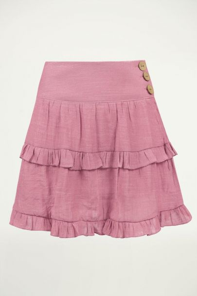 Fuchsia rok ruffles & laagjes, a-lijn rok