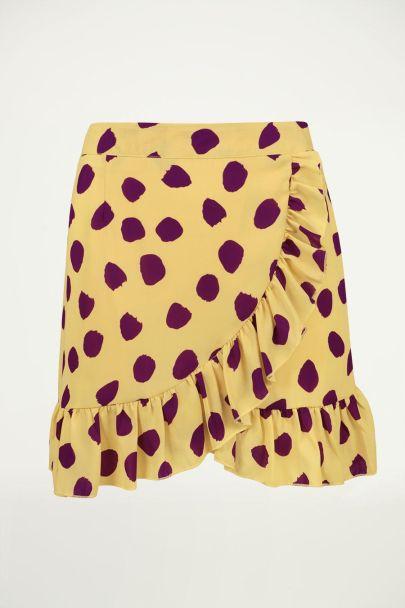 Gele ruffle rok met stippen, overslag rok