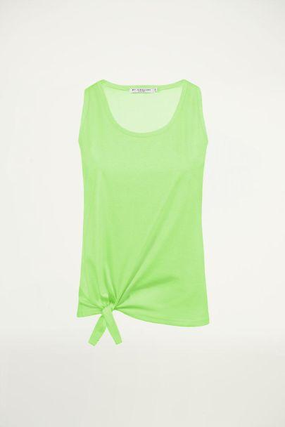 Groene neon top met knoop, tanktop