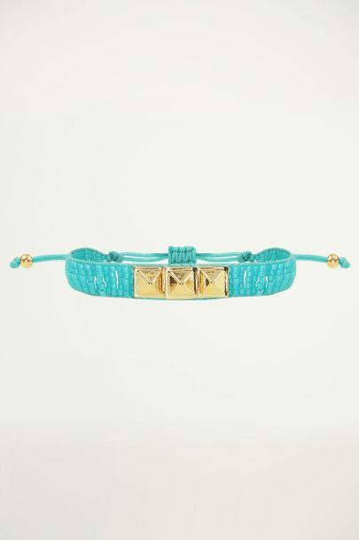 Kralen armband met gouden studs, armband studs