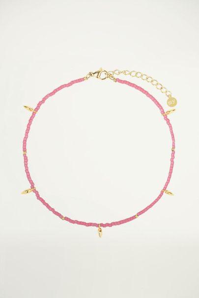 Roze enkelbandje druppels, kralen enkelbandje