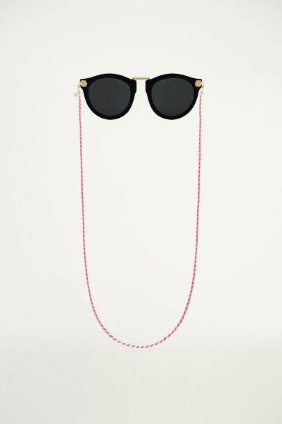 Roze zonnebrilkoord gedraaid touw, roze zonnebrilkoord