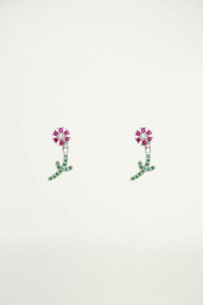 Studs strass bloemetje, oorknopjes