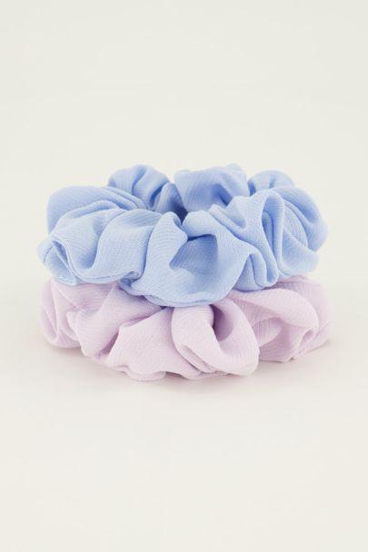 Lila & blauwe scrunchie set