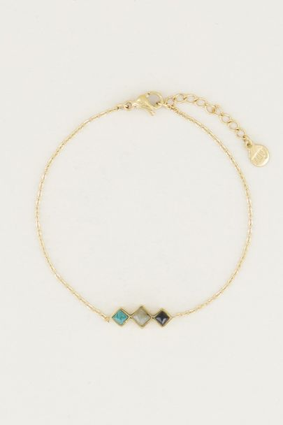 Armband donkere edelsteentjes, gemstone bracelet