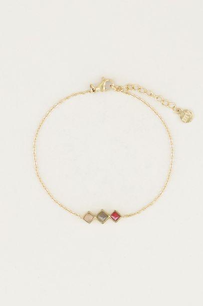 Armband lichte edelsteentjes, armband met edelsteen