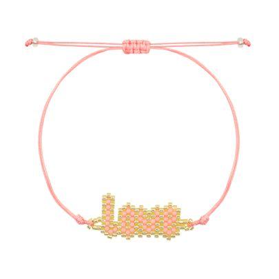 Roze kralen armband love My Jewellery