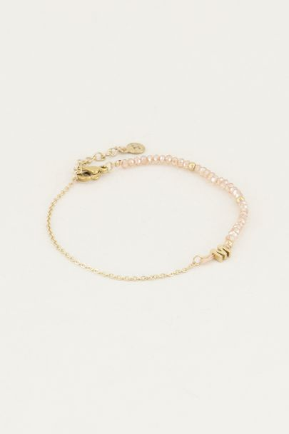 Beige kralen armband met initial | Kralen armband My Jewellery