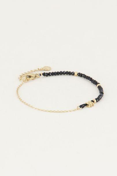 Zwarte kralen armband met initial | Zwarte armband My Jewellery