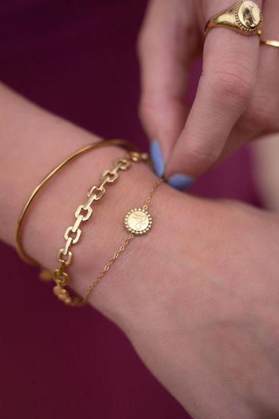 Armband Initial Münze klein
