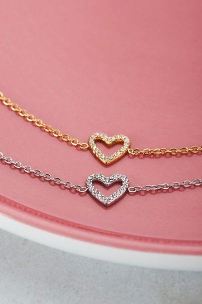 Armband open hart steentjes