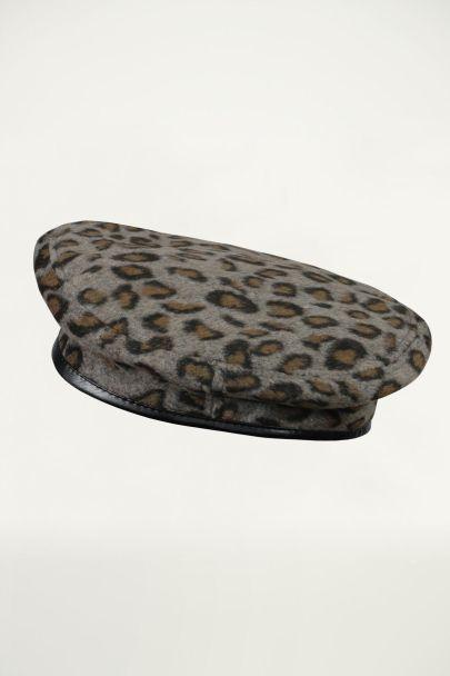 Grijze baret luipaardprint