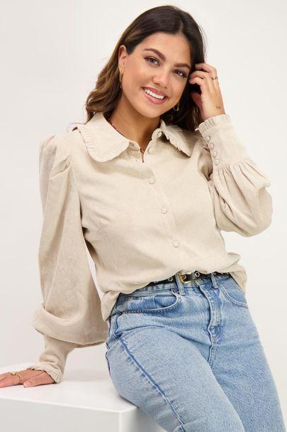 Beige blouse met corduroy
