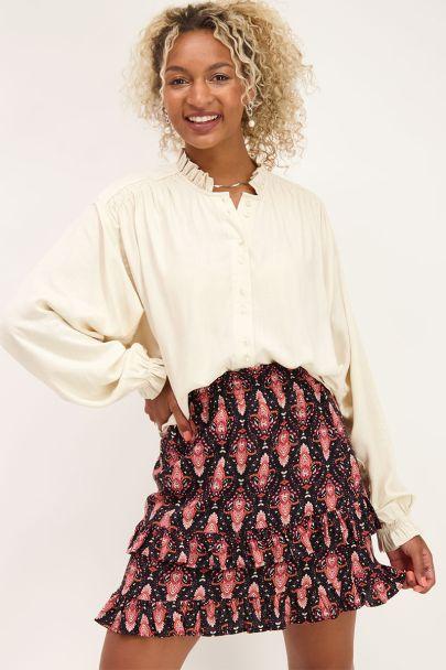 Beige blouse met wijdvallende mouwen