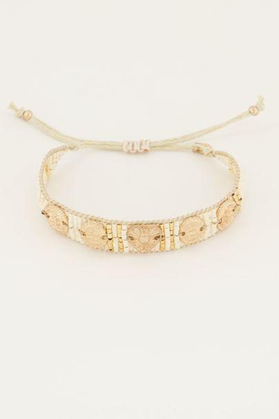 Witte gouden armband kraaltjes bedels
