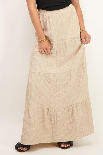 Beige maxi rok met lagen