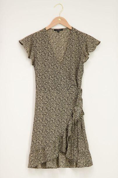Beige wrap dress with leopard print