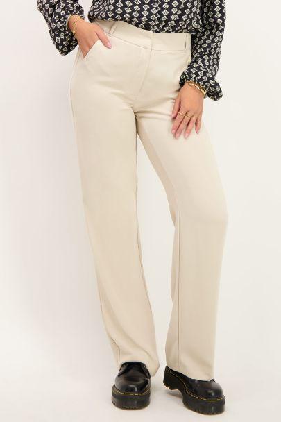 Beige pantalon wijdvallend