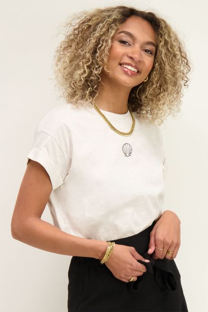 Beige T-Shirt with shell