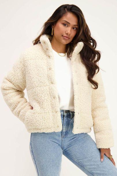 Beige teddy puffer jacket
