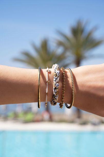 Beige braided bracelets set