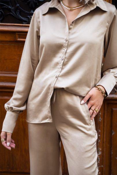 Beige blouse satijnen look