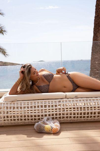 Beige luipaard triangle bikini set