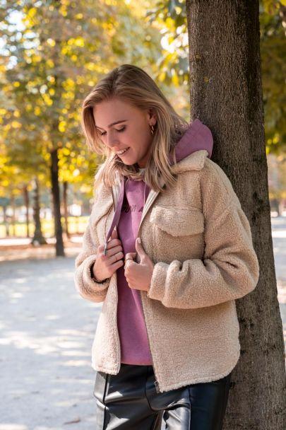 Beige teddy coat met pockets