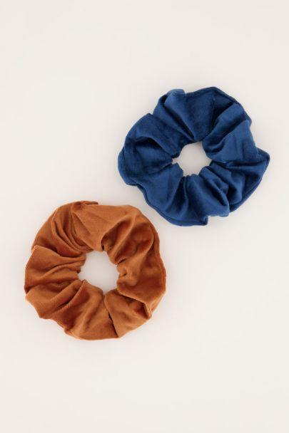 Blauw & bruine velvet scrunchie set