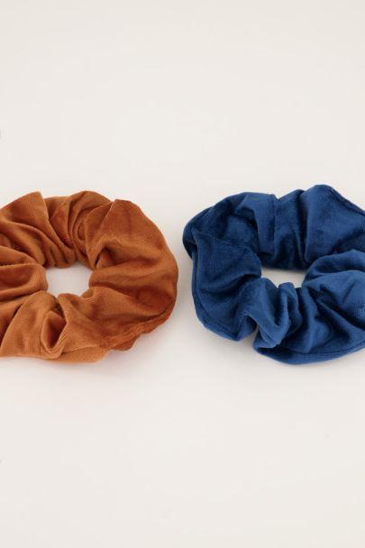 Set aus blauem und braunem Samt-Halstuch
