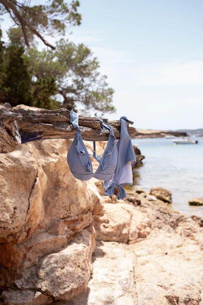 Blauw bikini broekje met structuur