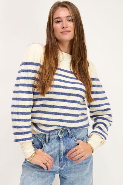 Blauw gestreepte trui met pofmouwen