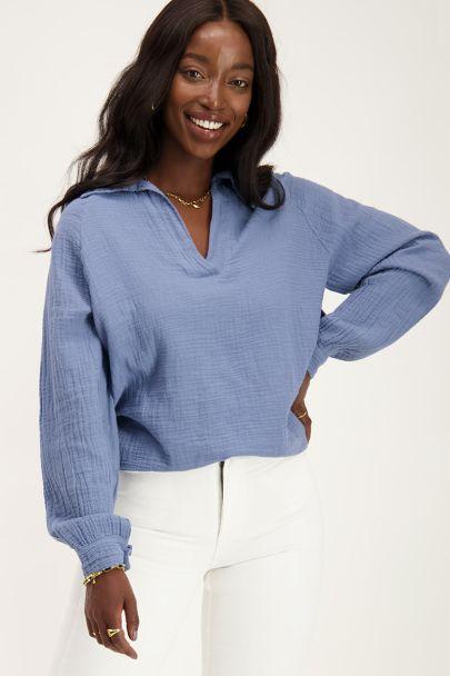 Blauwe katoenen blouse