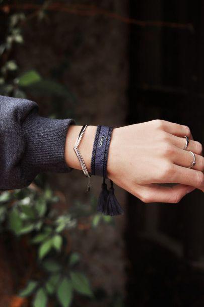 Blauwe bohemian armband love
