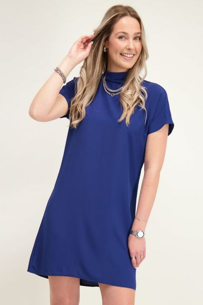 Blue dress with turtle neck