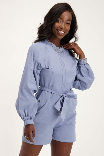 Blue playsuit with long sleeves