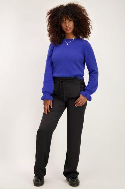 Blauwe trui met ruffle mouwen