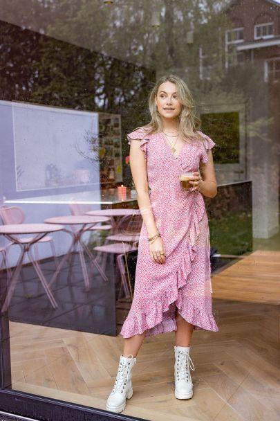 Roze midi jurk met bloemenprint