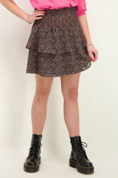 Floral print skirt with smocking