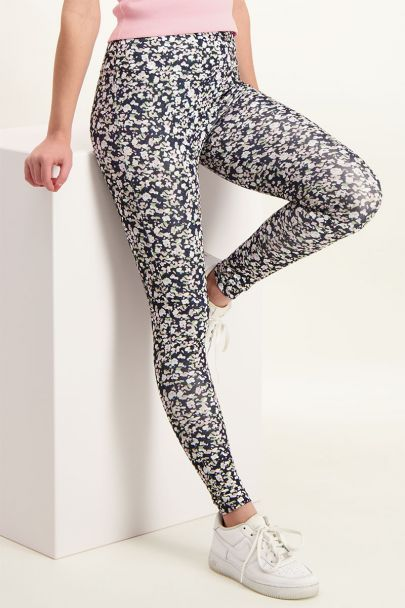 Sports leggings with floral plint