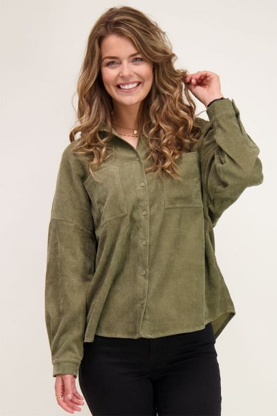 Donkergroene oversized corduroy blouse