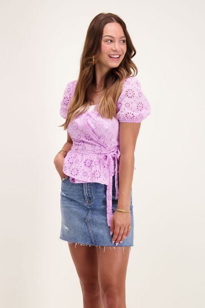 Lilac wrap blouse with button & bow