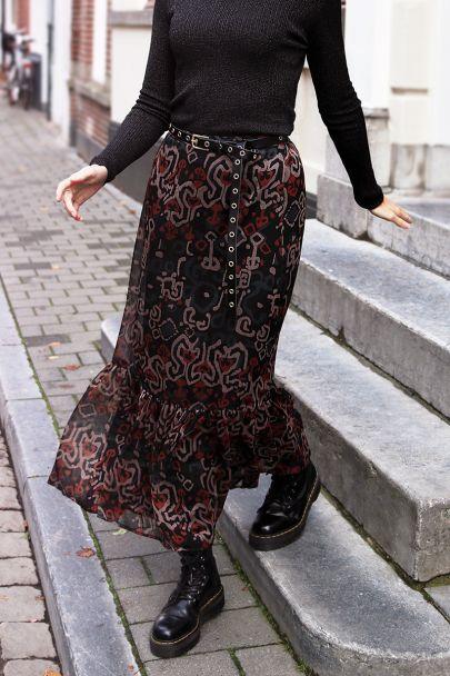 Lange rok met boho print