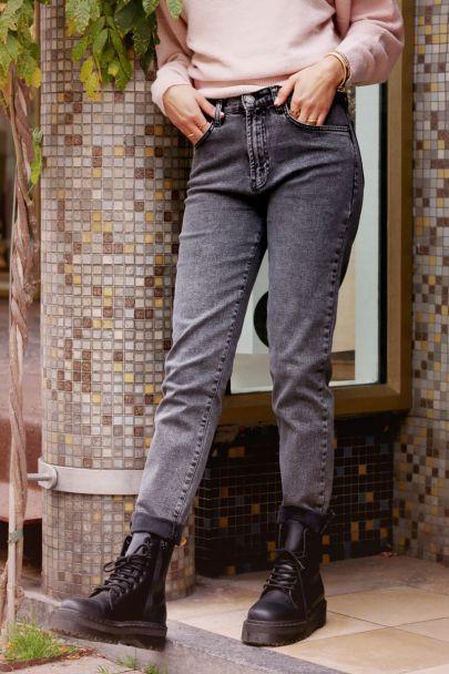 Grijze straight fit jeans
