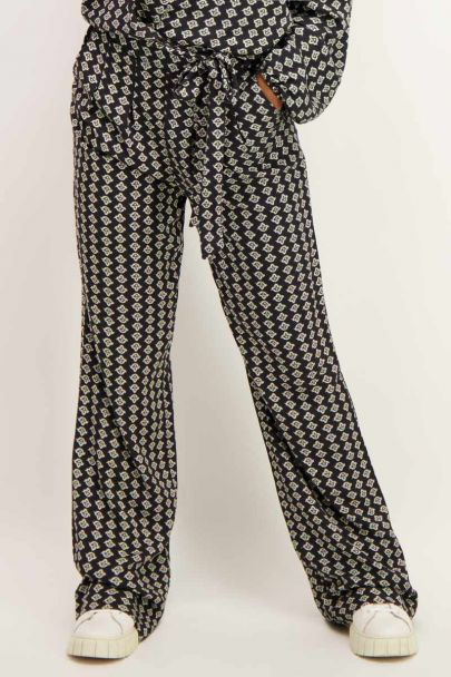 Zwarte broek met Shapes print